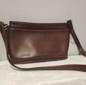 Vintage Coach Dark Brown Leather Shoulder Bag